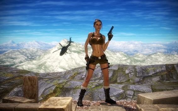 Wallpaper Tomb Raider, Lara Croft, gun, helicopter, mountains