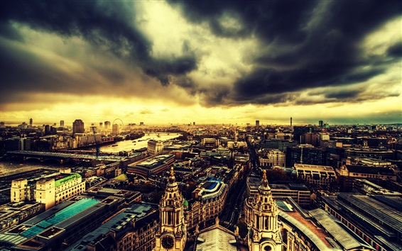 Wallpaper Travel to London, city top view, evening