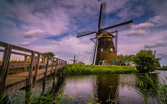 壁紙 オランダ、風車、川、橋への旅行