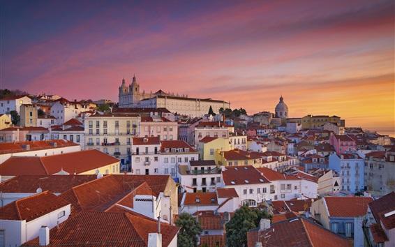 Papéis de Parede Viagem a Portugal, Lisboa, cidade, casas, manhã