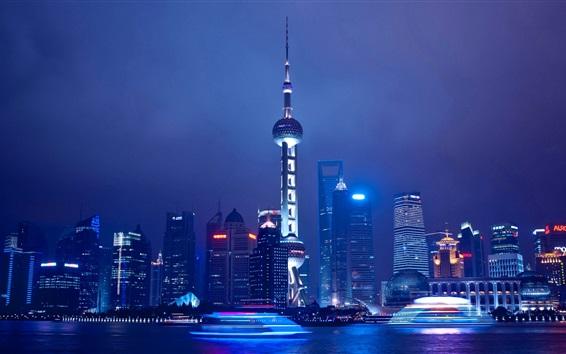Papéis de Parede Viagem para Xangai, China, noite, rio, arranha-céus, torre, luzes