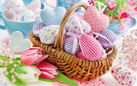 Fondos de pantalla Tulipanes, huevos de colores, tela, cesta, Feliz Pascua