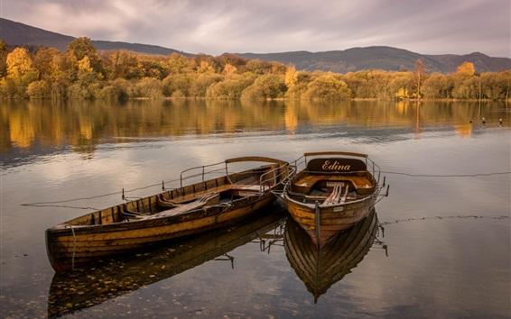 Wallpaper Two boats, lake, trees, autumn