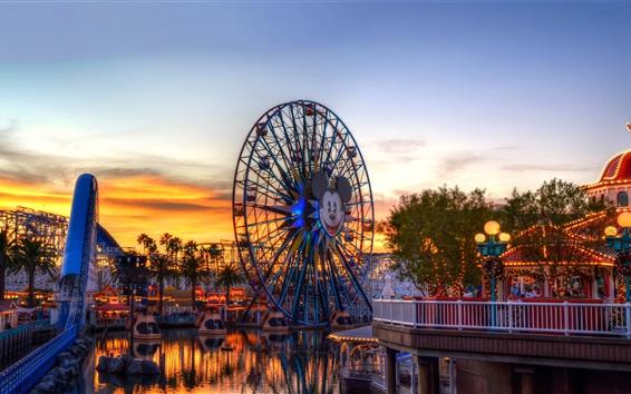 Wallpaper USA, ferris wheel, roller coaster, dusk, Children's Paradise