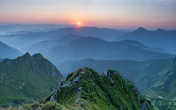 Wallpaper Ukraine, Carpathians, mountains, sunset, dusk