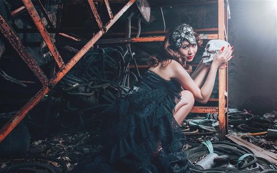 Wallpaper Vampire girl and skull