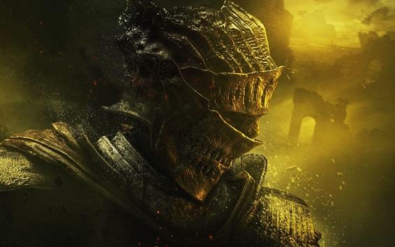 Обои Воин, доспехи, шлем, Темные души III