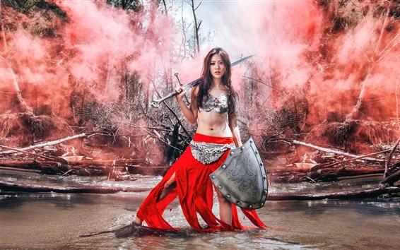 Wallpaper Warrior girl, Asian, red dress, sword, water, retro style