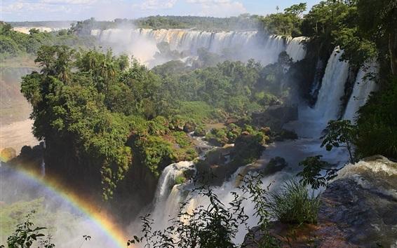 Wallpaper Waterfalls, stream, rainbow