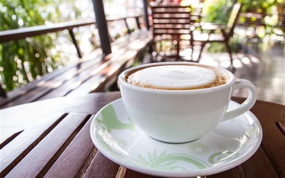 Papéis de Parede Copo branco, café, espuma, bebidas