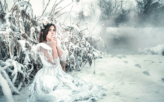Wallpaper White dress girl in winter, snow, cold