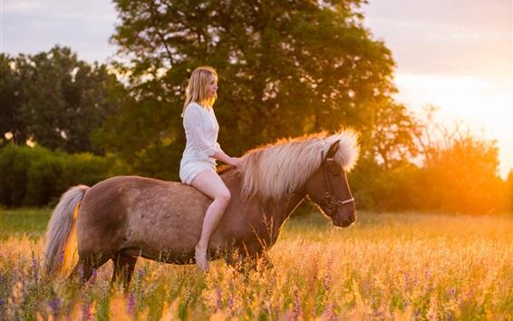 Wallpaper White dress girl riding horse, grass, sunshine