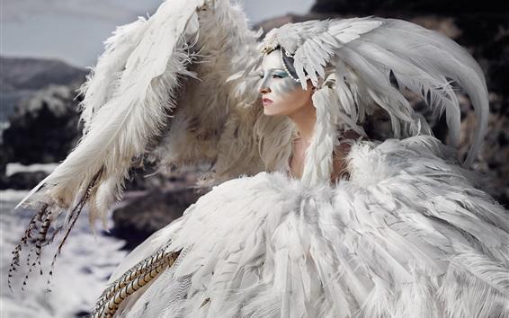 Fondos de pantalla Plumas blancas chica, estilo de arte