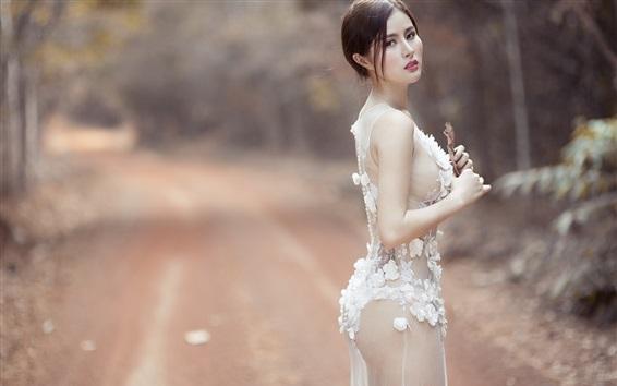 Wallpaper White lace dress girl look back