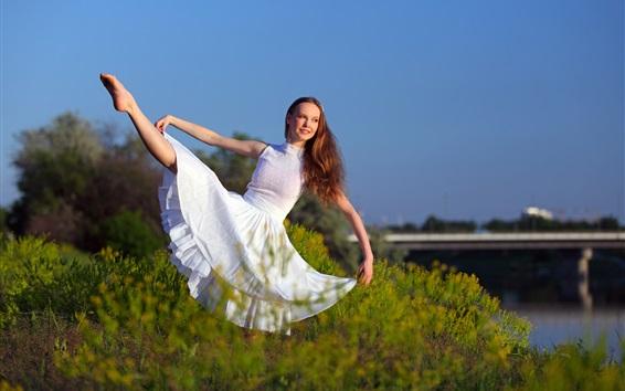 Wallpaper White skirt girl, pose, smile