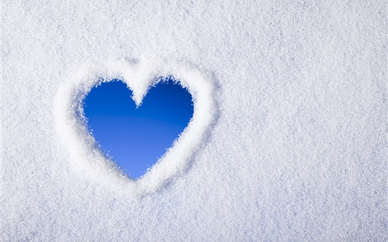 Wallpaper White snow, blue love heart