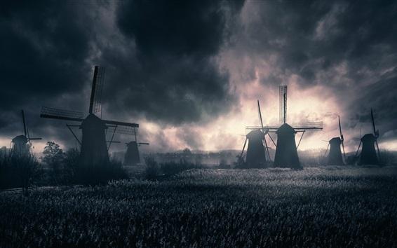 Fond d'écran Moulins à vent, champ, nuages, crépuscule