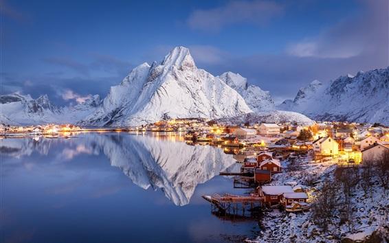 Wallpaper Winter, beautiful village, islands, mountains, snow, pier, water