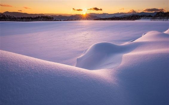 Обои Зима, рассвет, снег, горы, восход солнца