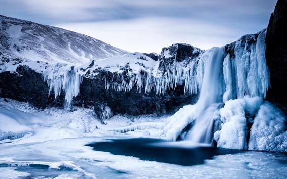 Fond d'écran Hiver, montagne, neige, cristaux de glace, très froid