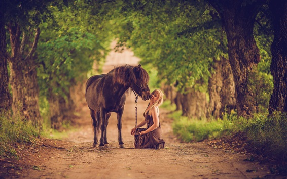 Wallpaper Woman and horse, road, trees