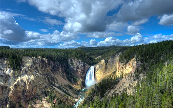 Wallpaper Wyoming, National Park, Yellowstone Lower Falls, canyon, forest, USA