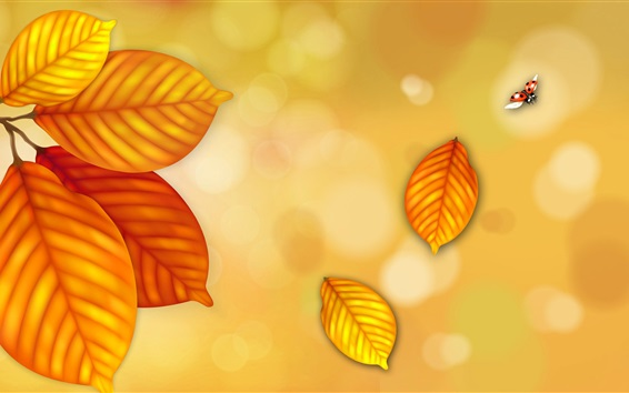 Wallpaper Yellow leaves, ladybug flying, creative picture
