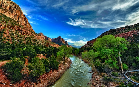 Wallpaper Zion National Park, Utah, USA, river, bushes, trees, mountains, clouds