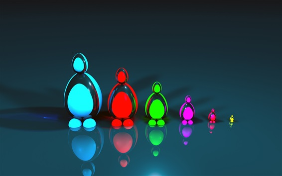 Wallpaper 3D colorful figurines