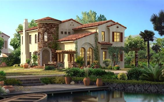 Papéis de Parede Desenho 3D, casas, árvores, moradias