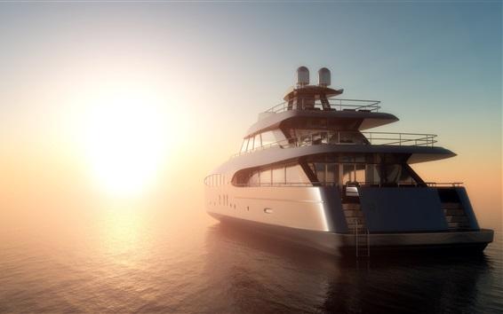 Обои 3D-дизайн, море, яхта, туман, рассвет