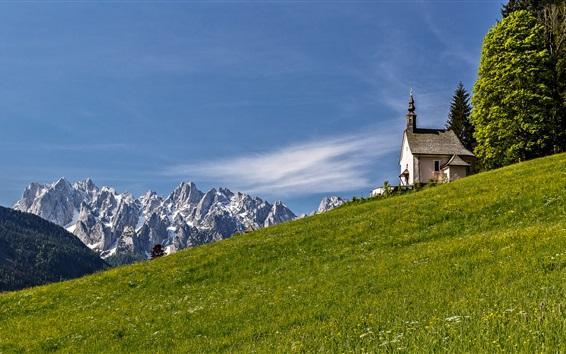 Wallpaper Alps, slope, mountains, church