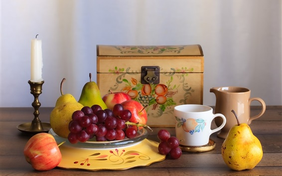 Wallpaper Apples, grapes, pears, fruit, box, cups