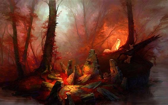Fondos de pantalla Dibujo de arte, bosque, zorros blancos