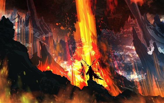 Wallpaper Art picture, fire, lava, horns