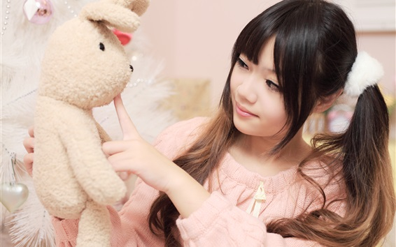 Wallpaper Asian girl and toy rabbit