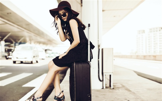 Wallpaper Asian girl, hat, sunglasses, suitcase, street
