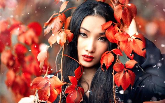 Wallpaper Asian girl, makeup, red leaves