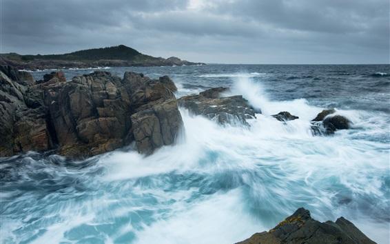 Обои Атлантический океан, Канада, море, камни, волны