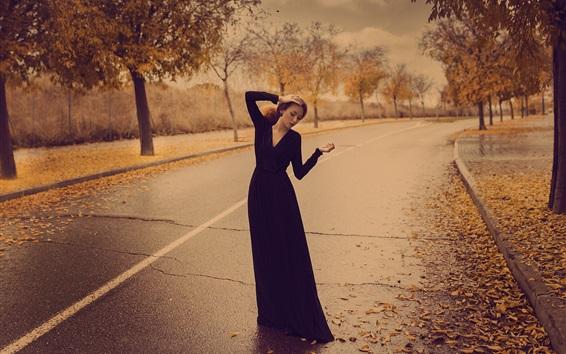 배경 화면 가을, 여자, 거리, 도로, 포즈