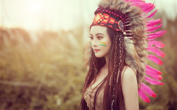 Wallpaper Beautiful Asian girl, Indian style, feathers