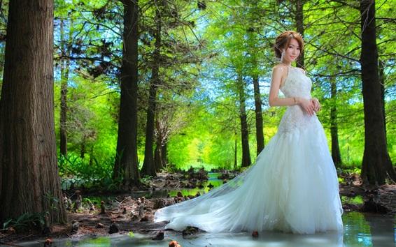 Wallpaper Beautiful bride, Asian girl, trees, water