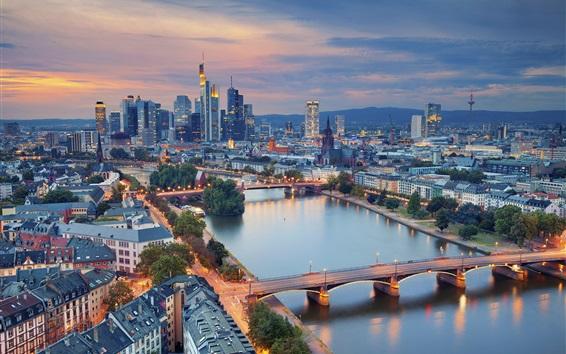 Обои Красивая городская ночь, Германия, Франкфурт, небоскребы, огни