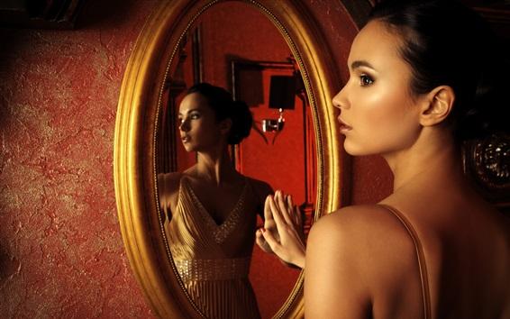 Wallpaper Beautiful girl, side view, mirror