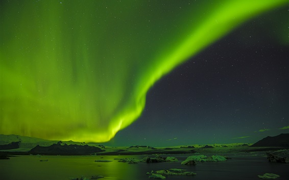 Wallpaper Beautiful northern lights, ice floes, night