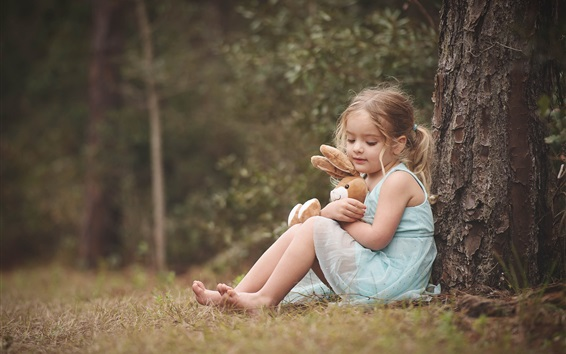 Wallpaper Blonde child girl, toy, sit under tree