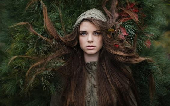Wallpaper Blue eyes girl, hair, pine
