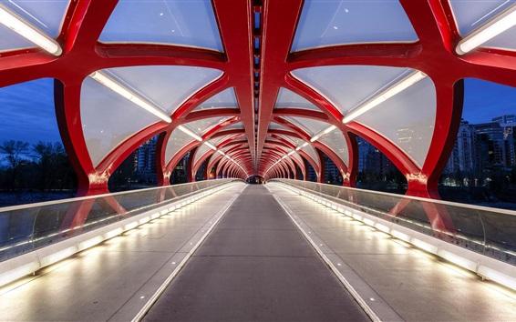 Wallpaper Canada, Calgary, Bridge of Peace, illumination