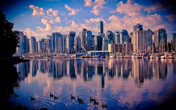 Papéis de Parede Canadá, Vancouver, lago, água, patos, arranha-céus, cidade