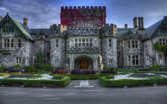 Fondos de pantalla Canadá, castillo, jardín, cielo azul, anochecer